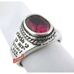 Silver and Ruby Protection from Evil Eye Kabbalah Ring Hand Made in Israel