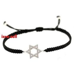 Star of David Macrame Bracelet CZ Crystals Cubic Zirconia Judaica Gift