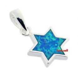 925 Sterling Silver Blue Opal Jewish Star of David Pendant Jewelry Gift
