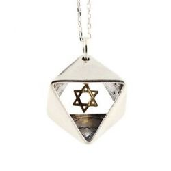 925 Sterling Silver Gold Jewish Star of David Necklace Hand Made in Israel