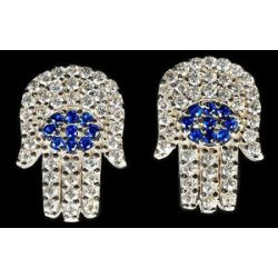Hamsa Earrings Evil Eye Cubic Zirconia CZ Crystals Charm Luck Protection