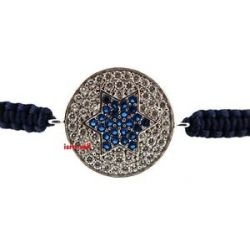 Star of David Macrame Bracelet CZ Crystals Cubic Zirconia Sterling Silver