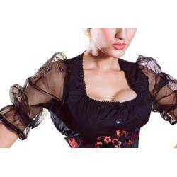 sexy Corsagenbluse Dirndl Bluse schwarz Trachten Bluse Mieder Bluse S - XXL