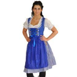 Dirndl blau 3tlg Set Dirndl bluse Weiß Midi Dirndl 60cm Gr 34-60
