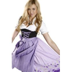 Schwarzes Midi Dirndl mit lila, kariertem Rock 3tlg.