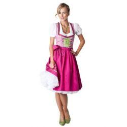 Ludwig und Therese Damen Trachten Dirndl Hannah midi pink/grün kariert (Grün, Pink)