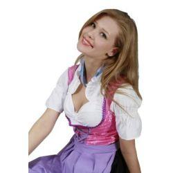 Pinkes Midi Dirndl mit lila Schürze, 3-tlg.