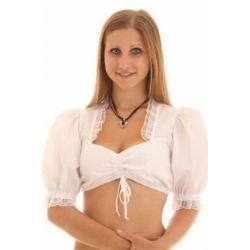 Trachten Dirndl Bluse von Trachtenmoden Riehl mit Zugband und Rüschen , bezaubernde weiße Dirndlbluse