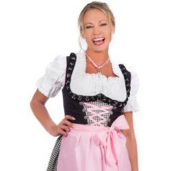 Mini Dirndl 3-tlg. schwarz rosa kariert mit passender Bluse und Schürze Gr. 32-50