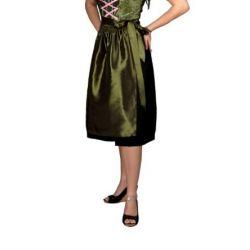 Midi Dirndlschürze 69 cm aus Taft fürs Dirndl, olivgrün Trachtenmode für Damen