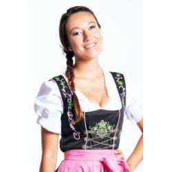 Midi Dirndl 3-teilig in Schwarz/Rosa/Grün mit Stickereien - weiße Dirndlbluse - rosa Schürze - FROHSINN