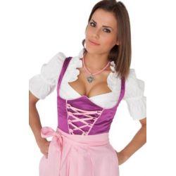 3tlg.-Set mit lila Dirndl und rosa Schürze