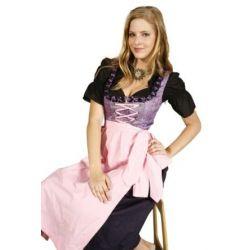 Lila, 3tlg. Tracht mit rosa Schürze und schwarzer Bluse