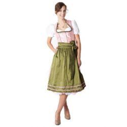 Ludwig und Therese Damen Trachten Dirndl Pia midi rosa/grün 11140 (Grün, Rosa)