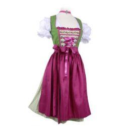 Mini-Dirndl kurz - Dirndl Mini Grün/Pink -Dirndl-Set 3tlg. Wiesn-Dirndl 60cm