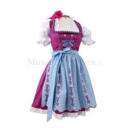 Mini-Dirndl kurz - Dirndl Mini Pink/Blau -Dirndl-Set 3tlg. Wiesn-Dirndl 50cm