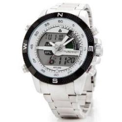 Alienwork Lumi Analog-Digital LED Armbanduhr Chronograph Uhr Multi-funktion Edelstahl weiss silber OS.WH-1104-1