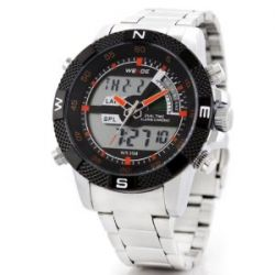 Alienwork Lumi Analog-Digital LED Armbanduhr Chronograph Uhr Multi-funktion Edelstahl schwarz silber OS.WH-1104-4