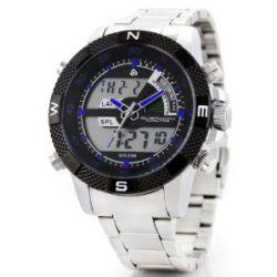 Alienwork Lumi Analog-Digital LED Armbanduhr Chronograph Uhr Multi-funktion Edelstahl schwarz silber OS.WH-1104-3