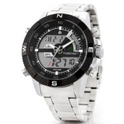 Alienwork Lumi Analog-Digital LED Armbanduhr Chronograph Uhr Multi-funktion Edelstahl schwarz silber OS.WH-1104-6