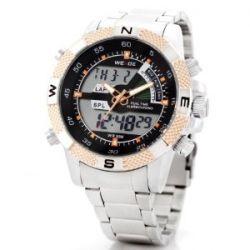 Alienwork Lumi Analog-Digital LED Armbanduhr Chronograph Uhr Multi-funktion Edelstahl schwarz silber OS.WH-1104-G