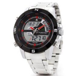 Alienwork Lumi Analog-Digital LED Armbanduhr Chronograph Uhr Multi-funktion Edelstahl schwarz silber OS.WH-1104-2
