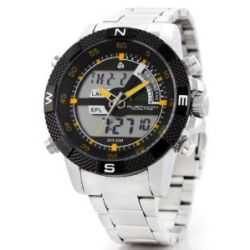Alienwork Lumi Analog-Digital LED Armbanduhr Chronograph Uhr Multi-funktion Edelstahl schwarz silber OS.WH-1104-5