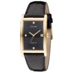 Accurist Herren-Armbanduhr Analog Leder schwarz MS888DIA