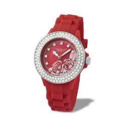 Avalanche Uhr - MINI Roses - trendige Armbanduhr mit Motiv und Steinchen - rot / Gehäuse extra klein