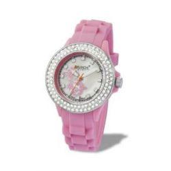 Avalanche Uhr - MINI Flower - trendige Armbanduhr mit Motiv und Steinchen - pink / Gehäuse extra klein