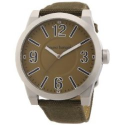 Bruno Banani Herren-Armbanduhr XL TARAS BIG Analog Quarz Leder BR21107
