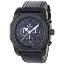Bulova 98B151 Men's Marine Star Black Dial Leather Strap Chronograph Watch