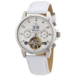 Burgmeister Imperia BM141-186 Damen Automatik Uhr Edelstahl weiß offene Unruh Datum/Tag/Monat Diamanten Leder weiß