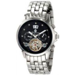 Burgmeister Imperia BM141-121 Damen Automatik Uhr Edelstahl schwarz offene Unruh Datum/Tag/Monat Diamanten