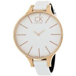 Calvin Klein Damen-Armbanduhr XS Glow Analog Leder K2B23601 PVD rosagold