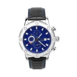 Carlo Monti Herren-Armbanduhr Stahl/blau/Leder CM100-132