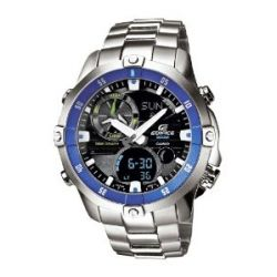 Casio Herren-Armbanduhr XL Edifice Analog - Digital Quarz Edelstahl EMA-100D-1A2VEF