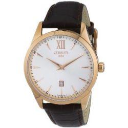 Cerruti Herren-Armbanduhr XL Analog Quarz Leder CRA066C213A
