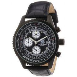 Constantin Durmont Herren-Armbanduhr XL Navigator Chronograph Quarz Leder CD-NAVI-QZ-LT-IPIP-BKD