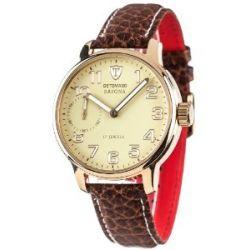 Detomaso Herren-Armbanduhr XL SAVONA Handaufzug Gold/Braun Classic Analog Leder DT1028-H