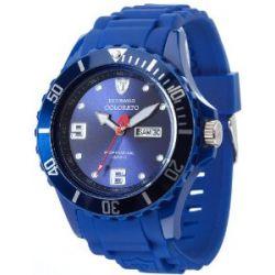Detomaso Herren-Armbanduhr XL COLORATO DAY & DATE Dark Blue Analog Quarz Silikon DT2029-C
