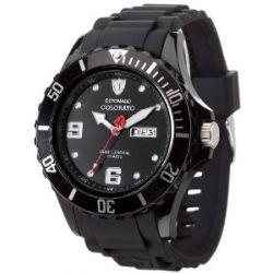 Detomaso Herren-Armbanduhr XL COLORATO DAY & DATE Black Trend Analog Quarz Silikon DT2029-A