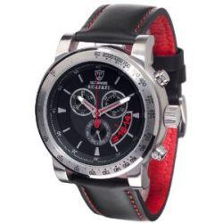 Detomaso Herren-Armbanduhr XL DETOMASO SCAFATI Black Red Leather Chronograph Quarz Leder DT1031-B