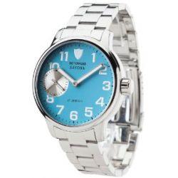 Detomaso Herren-Armbanduhr XL DETOMASO SAVONA Edelstahl Ziffernblatt Ice-Blau Analog Handaufzug Edelstahl DT1028-G