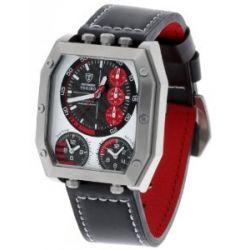 Detomaso Trend Herren-Armbanduhr Torino Chronograph 3 Timezone Silber