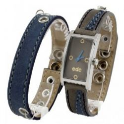 EDC by Esprit Damenuhr double twist - blue/grey Damenuhr mit extra Band EE100462010