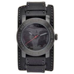 Edc Damen-Armbanduhr XL coin pusher - cool black, grey Analog Quarz Leder EE100531003