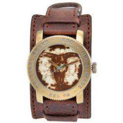 Edc Damen-Armbanduhr XL coin pusher - vintage brown Analog Quarz Leder EE100531004