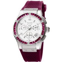 Esprit Collection Damen-Armbanduhr Phorkyra Amethyst - Swiss Made Chronograph Quarz Kautschuk EL101002S05