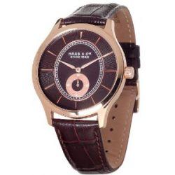 Haas & Cie Herren-Armbanduhr XL Analog Quarz Leder FYH433LRA